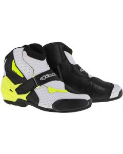 ALPINESTAR Smx 1 R Vented Ride Shoe 2016 Black White Fluro Yellow - Motorcycle Boot