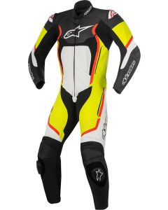 (CLEARANCE) Alpinestars Motegi V2 1-Piece Leather Suit (Black/White/Fluro/Yellow)