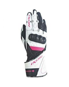 (CLEARANCE) Ixon RS Curve HP Ladies Leather Gloves - Black/White/Fuschia