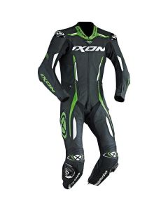 (CLEARANCE) 2018 IXON VORTEX 1-PIECE PERFORATED LEATHER RACE SUIT BLACK/GREEN