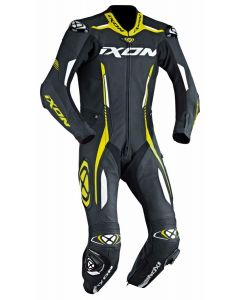 (CLEARANCE) 2018 IXON VORTEX 1-PIECE PERFORATED LEATHER RACE SUIT BLACK/YELLOW