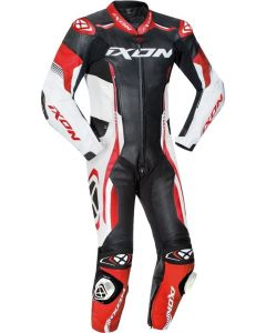IXON VORTEX 2 1-PIECE PERFORATED LEATHER RACE SUIT BLACK/WHITE/RED