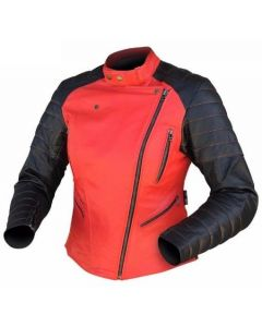 (Clearance) DRIRIDER Venus Ladies Leather Jacket - BLACK RED