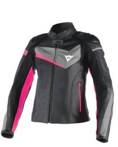 (CLEARANCE) DAINESE Lady Leather Motorcycle Jacket - VELOSTER  BLACK/ANTHRACITE/FUCHSIA