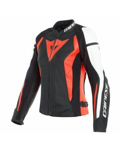 DAINESE NEXUS LADY LEATHER BLK/FLUO-RED/WHT   - Motorcycle Jacket