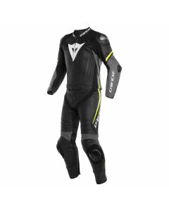 DAINESE LAGUNA SECA 4 2PCS BLK/CHAR-GRY/FLUO-YEL  - Motorcycle Suit