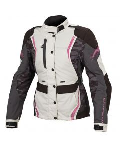 (CLEARANCE) Macna Beryl Ladies Textile Jacket - Ivory/Grey/Pink